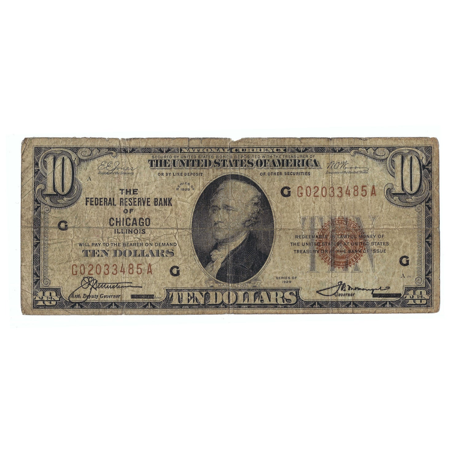 1929 $10 Small Size Federal Reserve Bank Note of Chicago, IL, Circulated