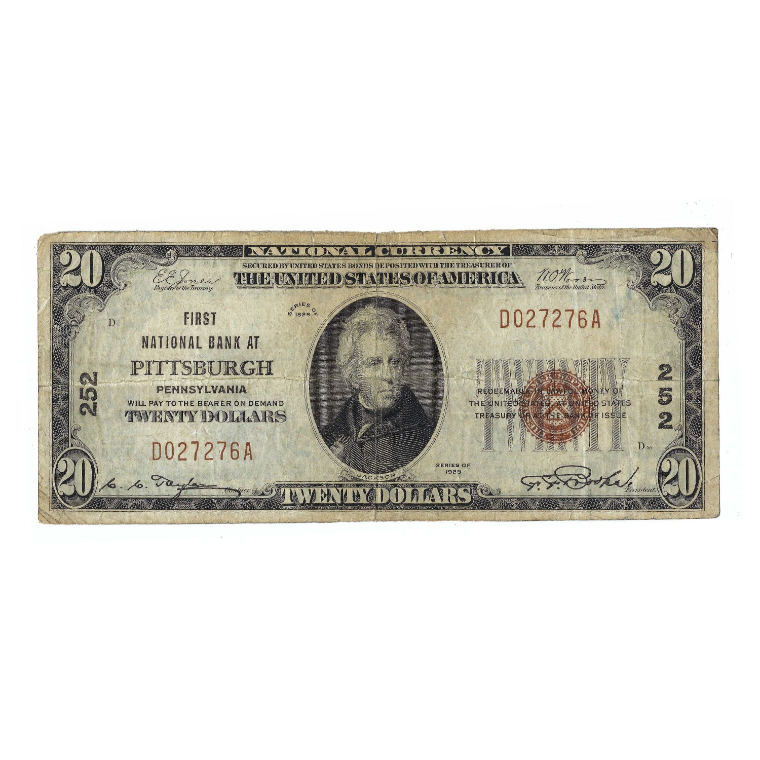 1929 $20 Small Size Federal Reserve Bank Note of Pittsburgh, PA, Circulated