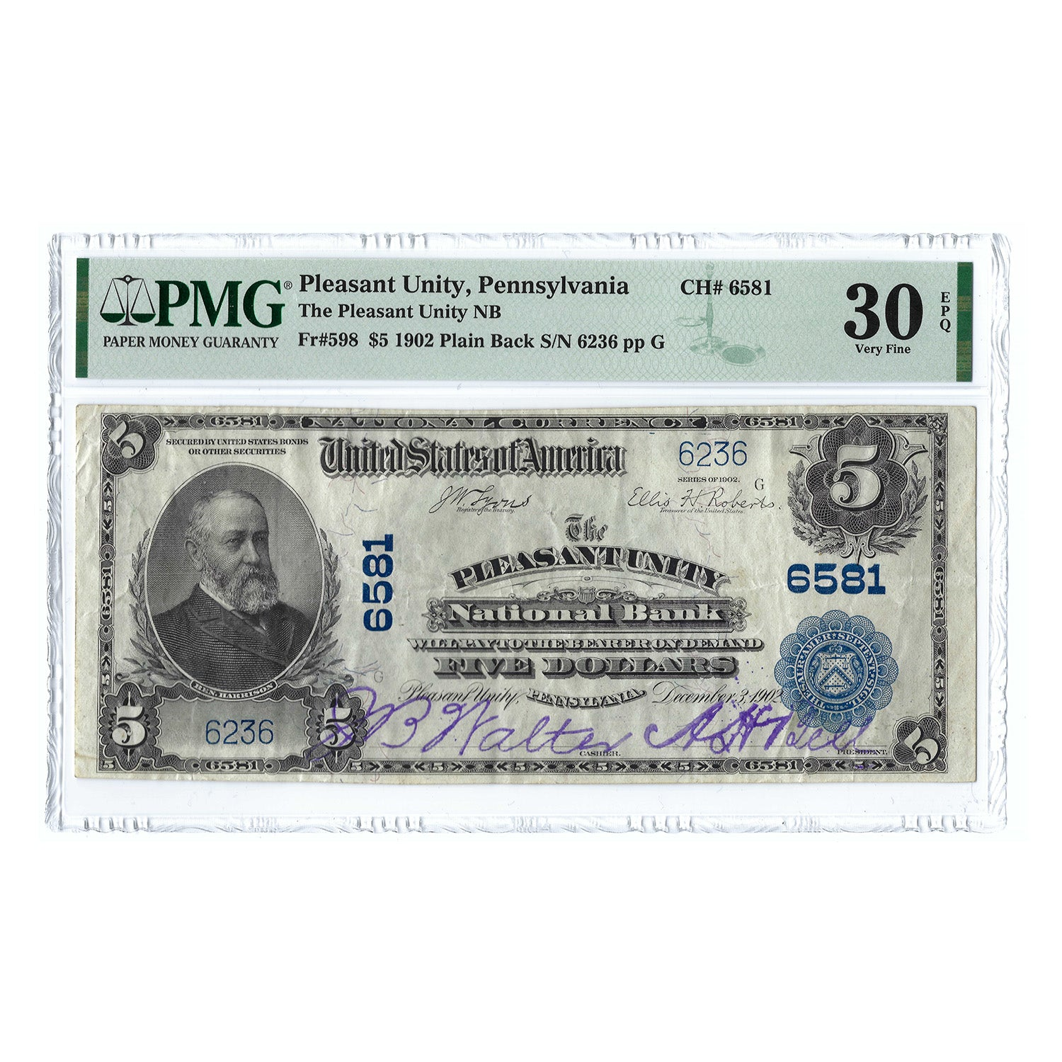 1902 $5 National Bank Note of Pleasant Unity, PA, CH#6581, PMG 30EPQ, S/N 6236