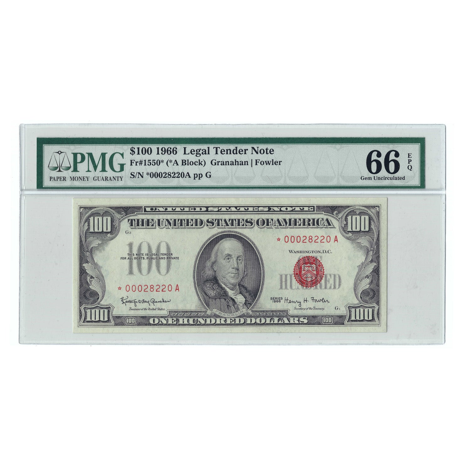 1966 $100 Legal Tender Note, Granahan-Fowler, FR1550, PMG Gem Uncirculated