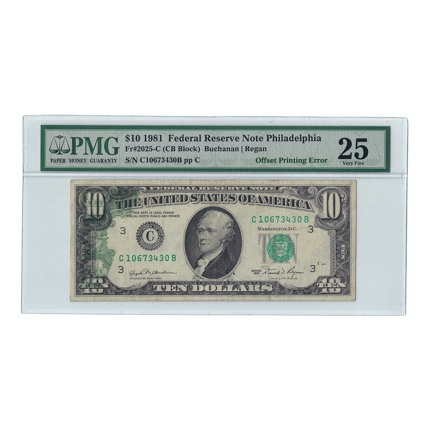 1981 $10 Federal Reserve Note, Buchanan-Regan, FR2025C, PMG 25 Very Fine