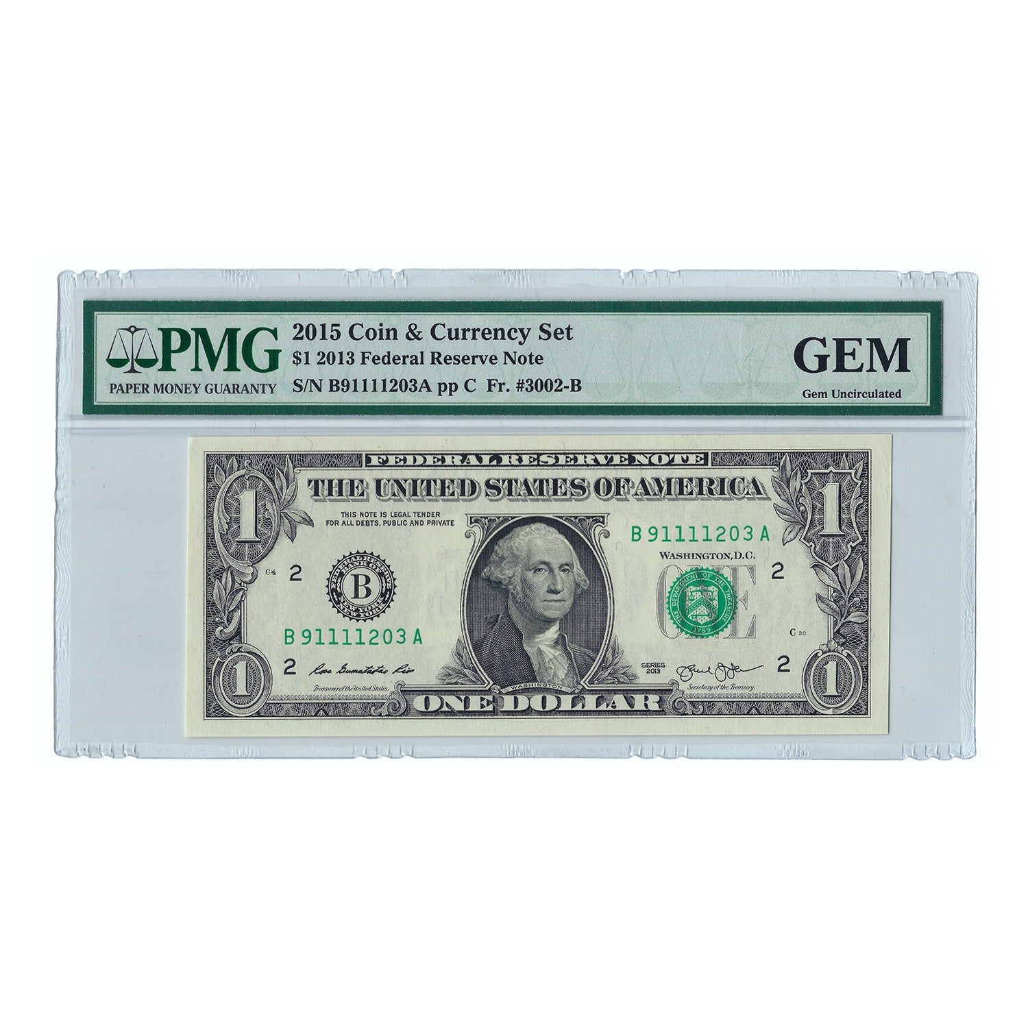 2013 $1 Coin & Currency Set Federal Reserve Note, FR3002B, PMG GEM