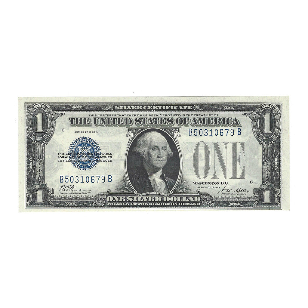 1928A $1 Small Size Silver Certificate, Fr. 1601, Woods-Mellon, Uncirculated