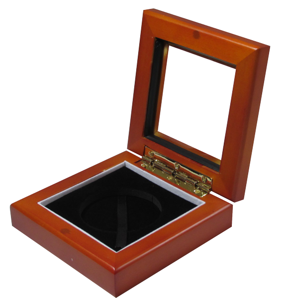 Guardhouse 3.87x3.87 Glass-top Wood Display Box - Holds Medium Sized Capsule