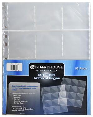 Guardhouse Shield 12 Pocket (10 pack) Archival Polypropylene Pages