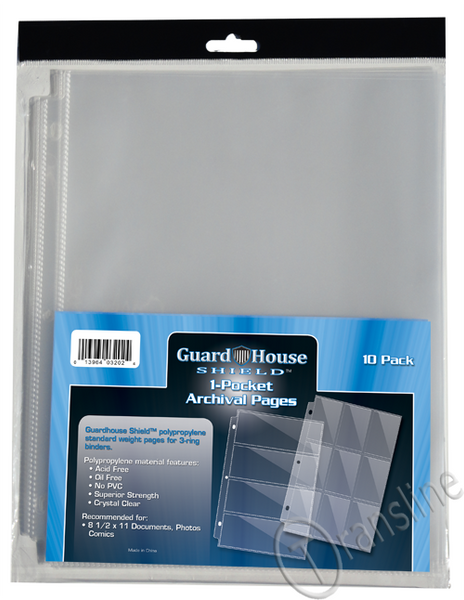 Guardhouse Shield 1 Pocket Archival (10 pack) Polypropylene Pages