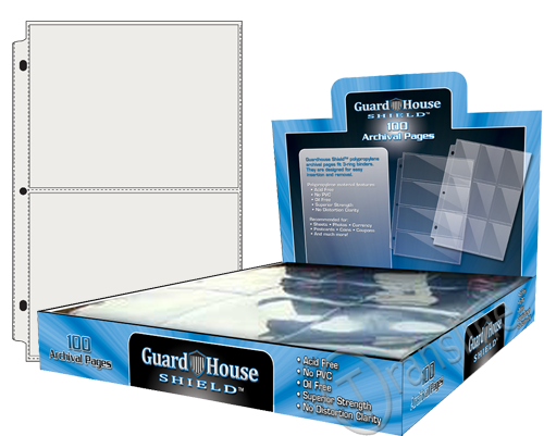 Guardhouse Shield 2 Pocket (100 pack) Archival Polypropylene Pages