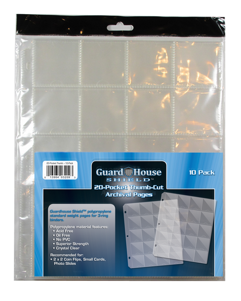Guardhouse Shield Thumb Cut 20 Pocket (10 pack) Archival Polypropylene Pages