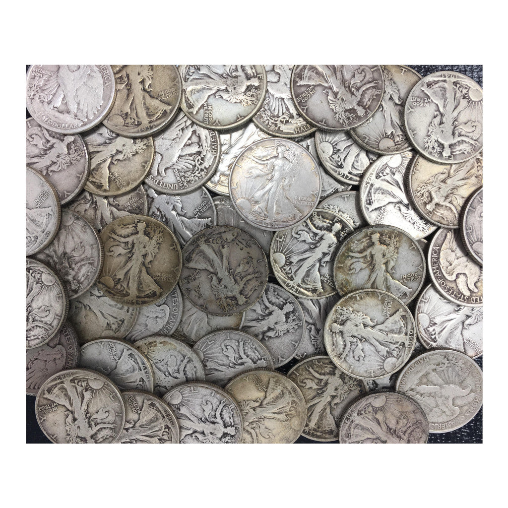 90% Silver Walking Liberty Half Dollars $25 Face-Value Bag Average Circ (50 Coins)