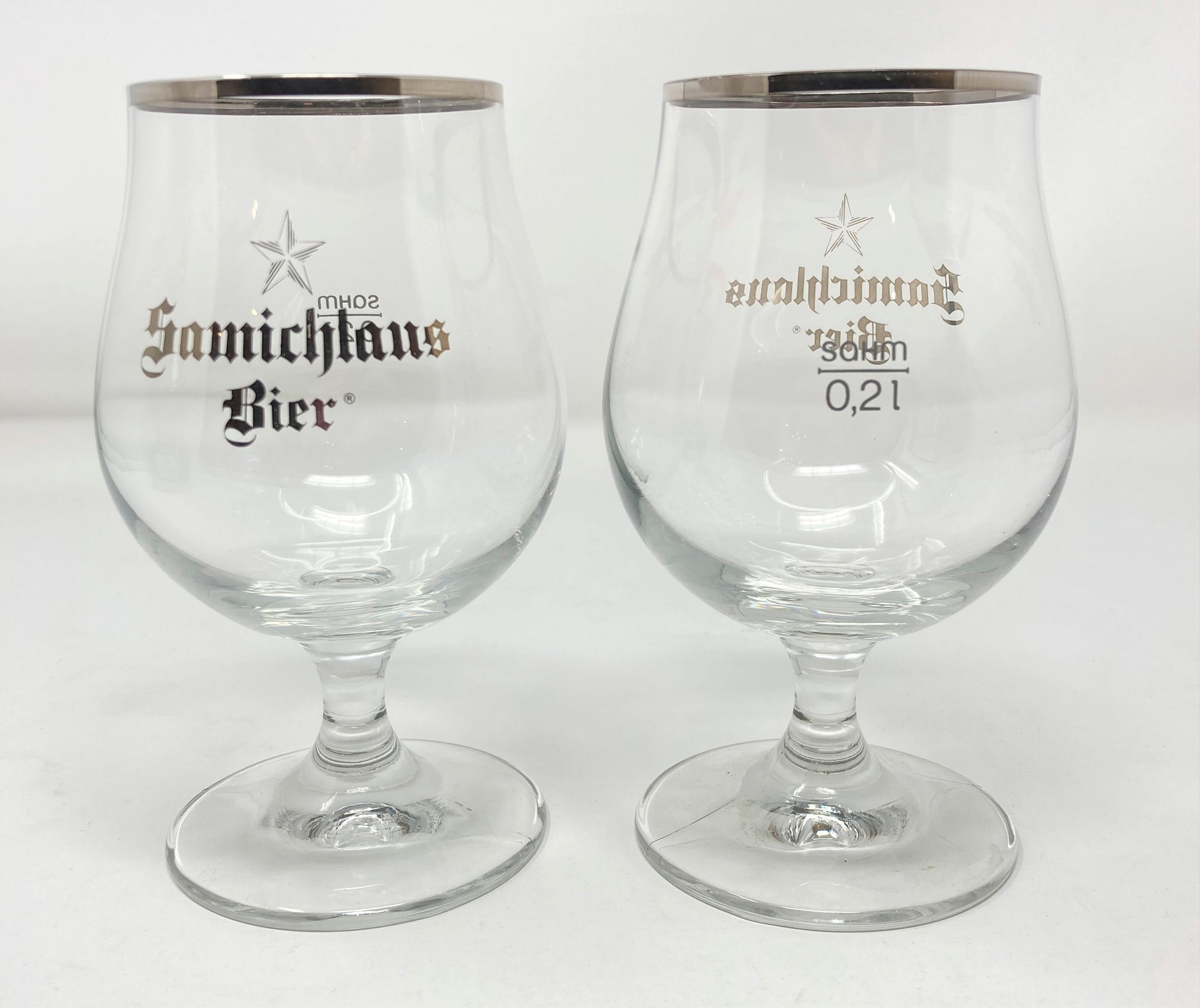 Samichlaus Beer Glass Belgian Tulip Silver Rim Set of 2