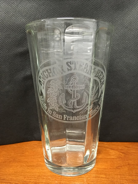 ANCHOR STEAM BEER PINT GLASS ETCHED SAN FRANCISCO