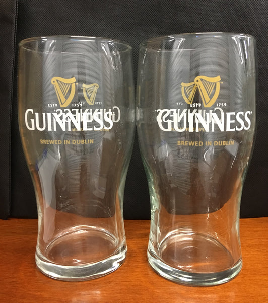 Guinness Brewed In Dublin Pint Beer Glasses Set of 2 16oz