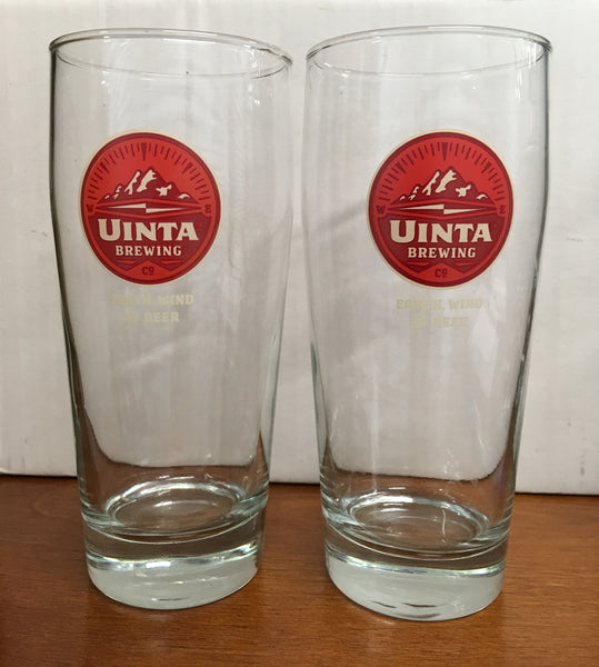 Uinta Brewing Earth Wind Beer Curved Pint Beer Glasses Set of 2