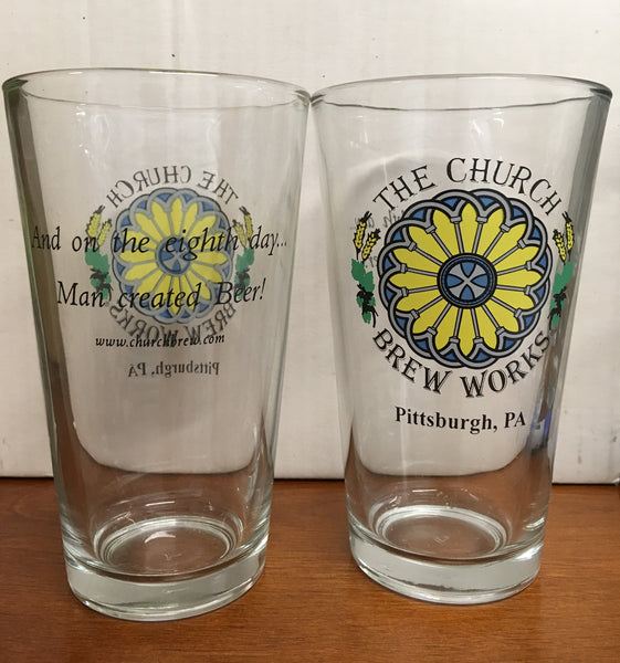 Church Brew Works Pittsburgh Pint Beer Glasses Set of 2
