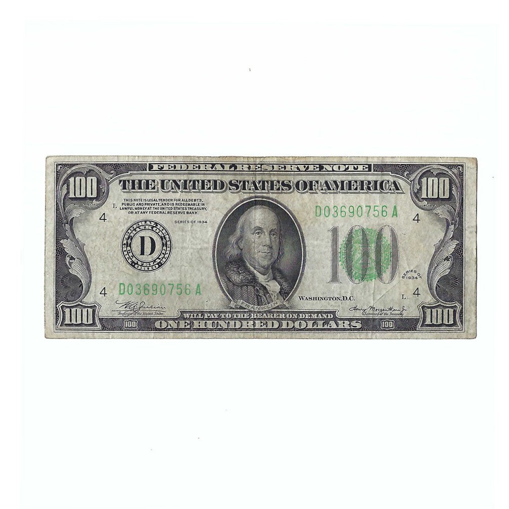 1934 Small Size $100 Federal Reserve Note, FR2152-D, Julian-Morgenthau, Circulated