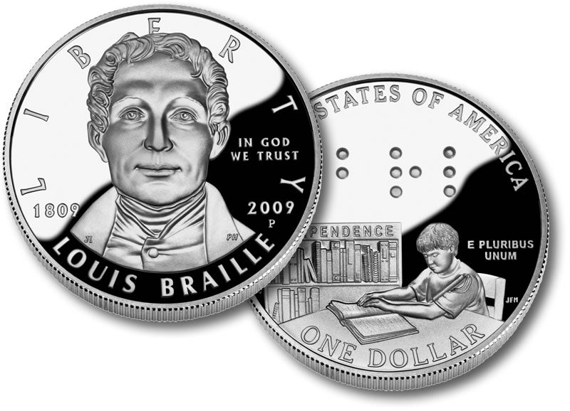 2009 Louis Braille Bicentennial Commemorative Silver Dollar Proof