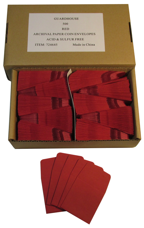Paper Coin Envelope, Red - Qty: 500