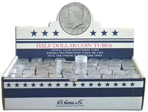 Round Coin Tube-Half-Dollar, 100/bx