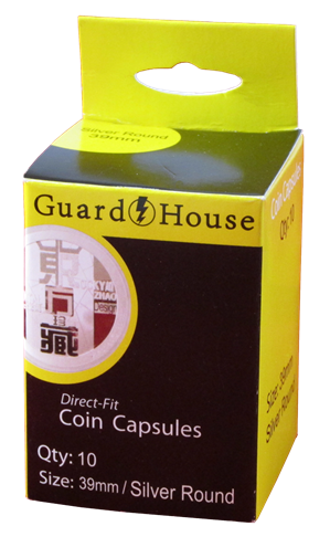 Silver Round (39mm) Direct-Fit Coin Capsules - 10 Pack