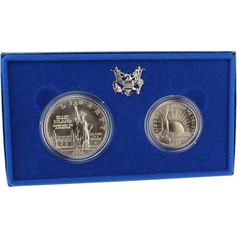 1986 Statue Of Liberty Commemorative Silver Dollar Mint State 2-Coin Set