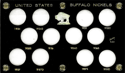 U.S. Buffalo Nickels 1934-1938D, Capital Plastics, Black