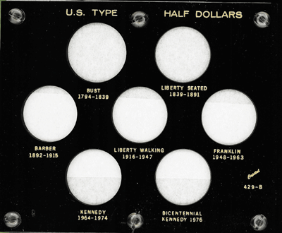 U.S. Type Half Dollars, Capital Plastics, Black