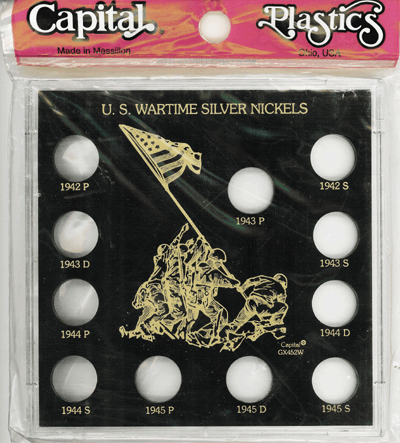 U.S. Wartime Silver Nickels, Capital Plastics, Black