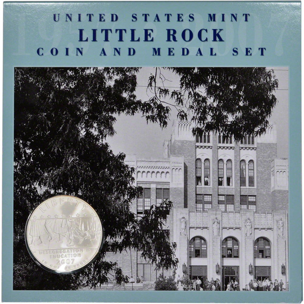 2007-P Little Rock Coin and Medal Set Commemorative Silver Dollar Mint State