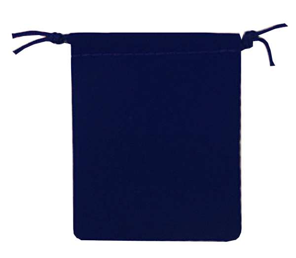 Velour Drawstring Pouch - 2.75x3.25 Navy Blue---