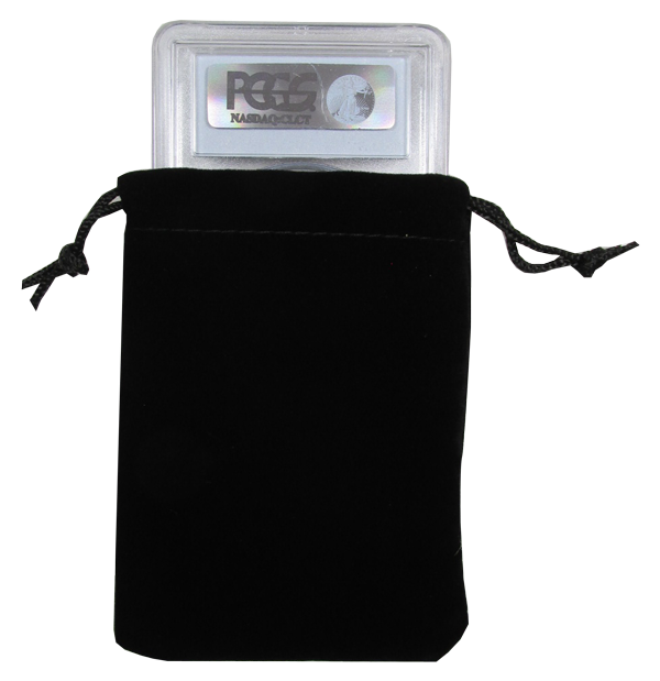 Velour Drawstring Pouch - 3x4.25 Black