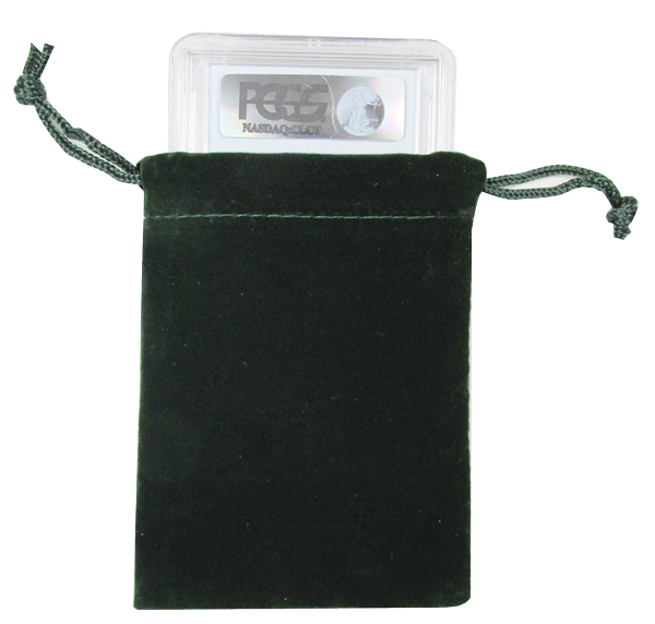Velour Drawstring Pouch - 3x4.25 Green