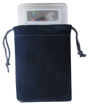 Velour Drawstring Pouch - 3x4.25 Navy Blue