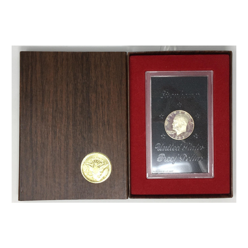 1973-S Silver Eisenhower Dollar Proof in Govt. Brown Box