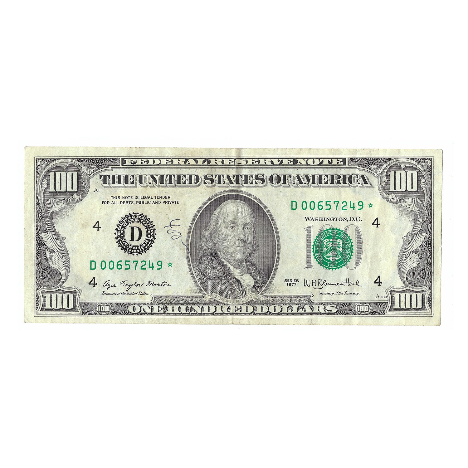 1977 $100 Small Size Federal Reserve Note, Morton-Blumenthal Circulated