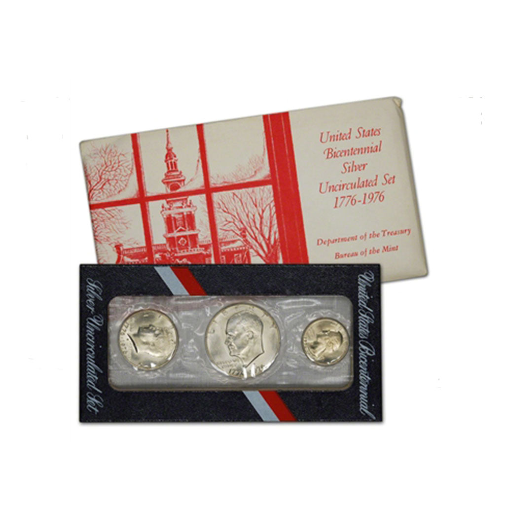 1976 U.S. Uncirculated Set Silver Bicentennial Red+White Envelope