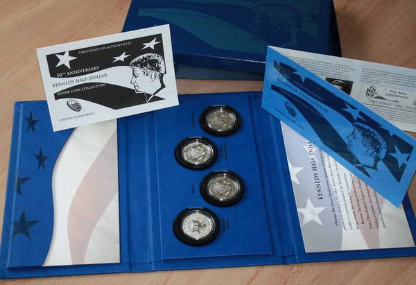 2014 Kennedy Half Dollar 50th Anniversary 4 Coin Silver Proof Set Box & COA