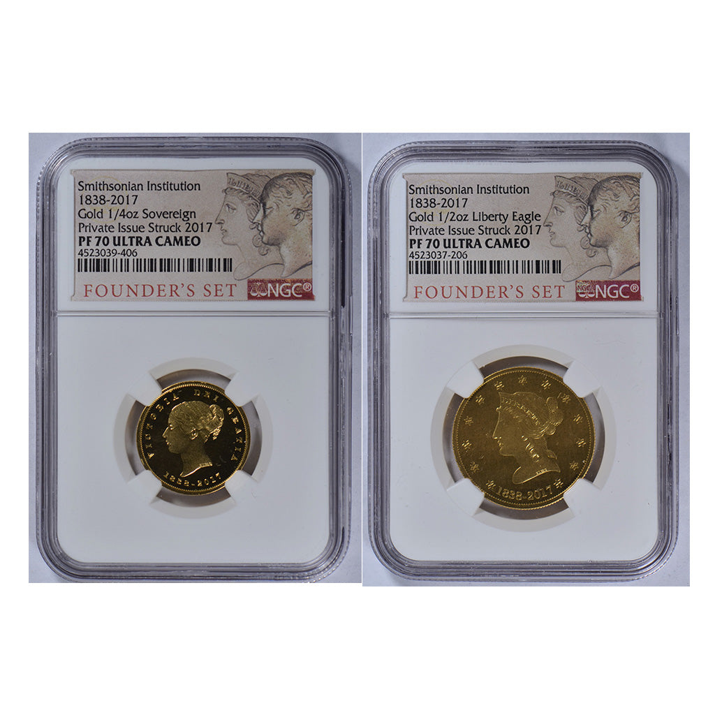 USA Smithsonian institution 1838 2pc Gold NGC PF 70 Founder's Set