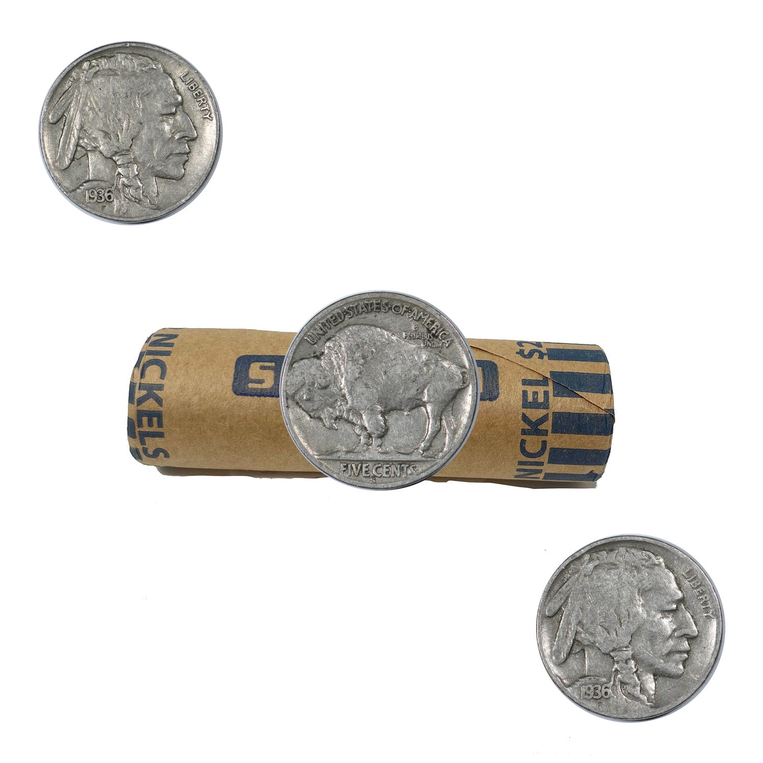 (1913-1938) Shotgun Roll of 40 Circulated Buffalo Nickels WITH DATES
