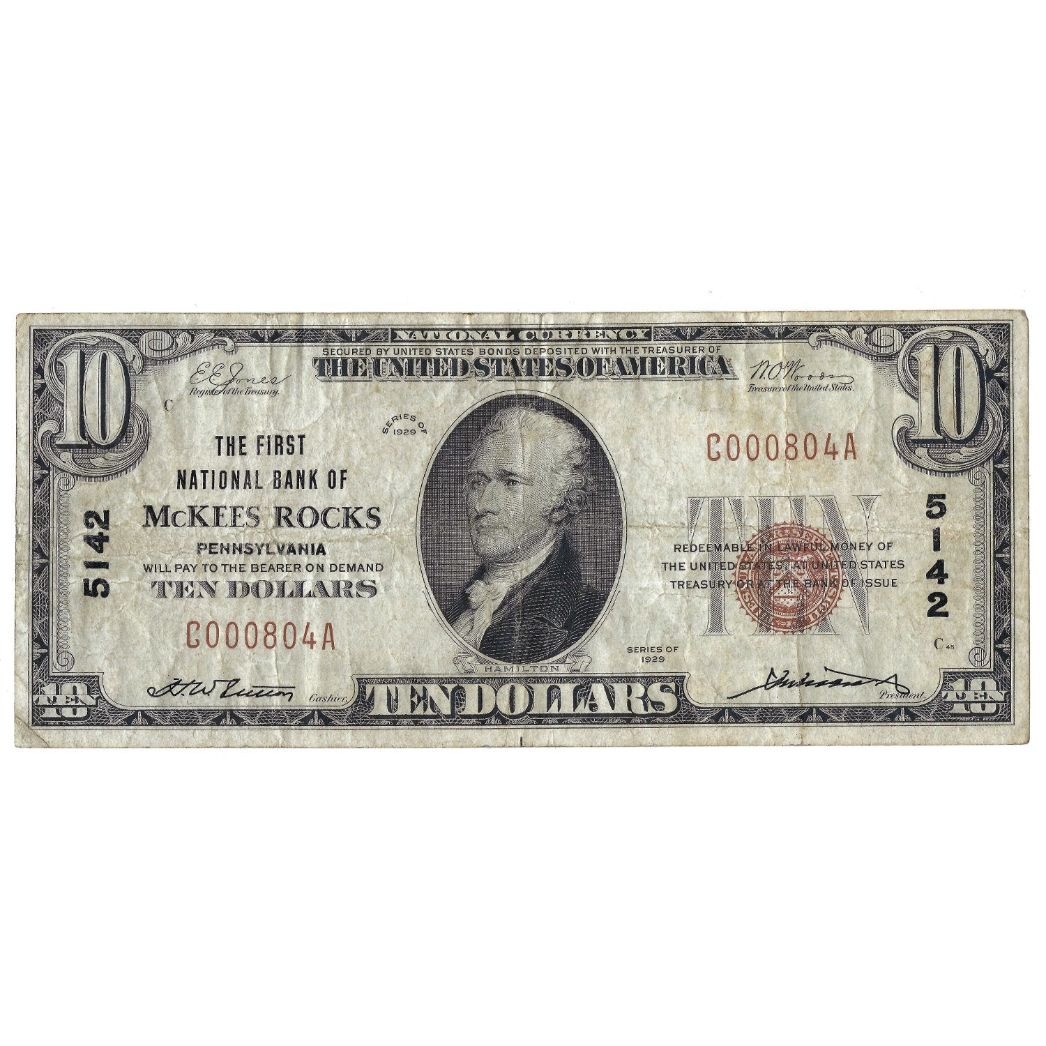1929 $10 Small Size National Bank Note of McKees Rocks, PA, Charter 5142