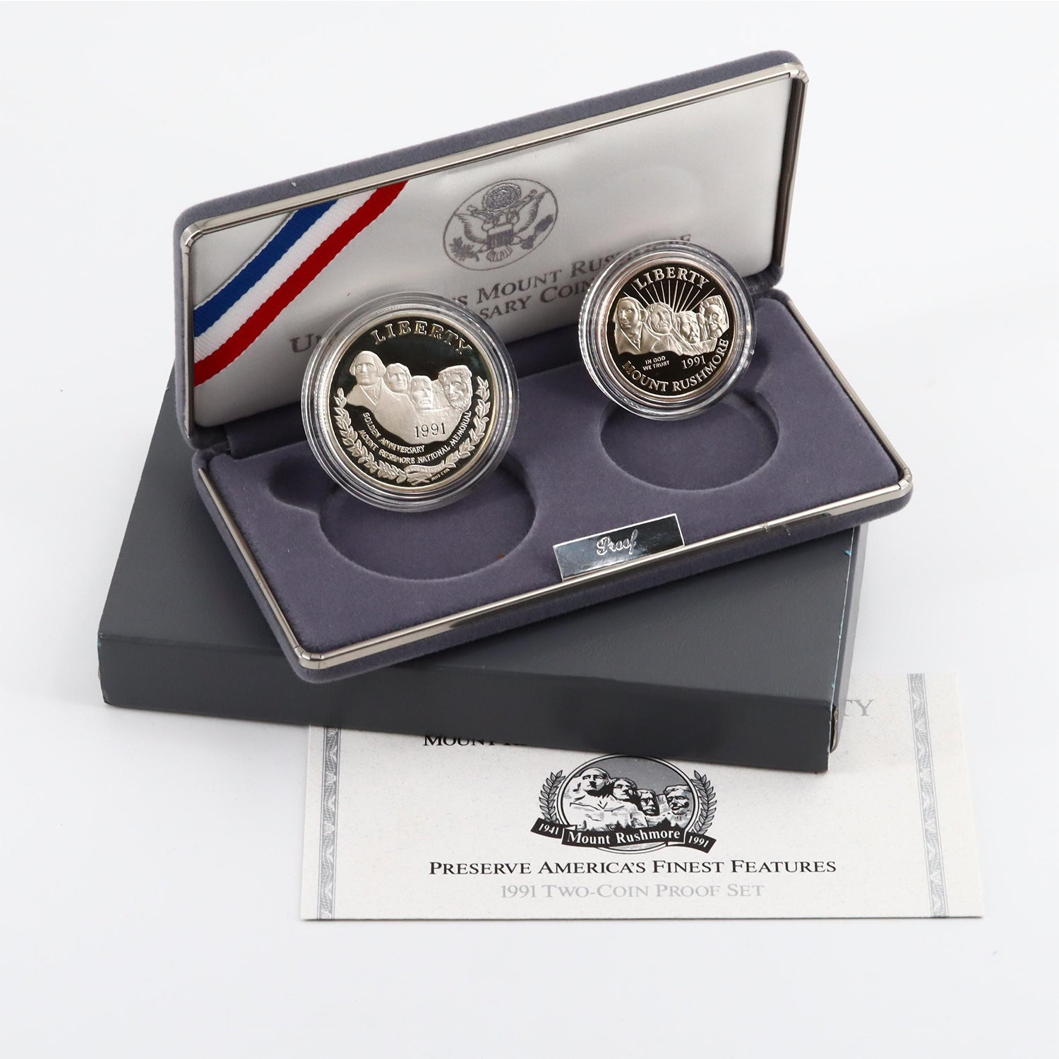 1991-S Mount Rushmore Commemorative Two Coin Proof Set with Box and COA