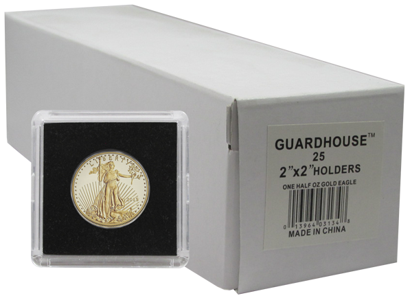 1/2 Ounce Gold Eagle, $10 Gold 2x2 Tetra Snaplock Coin Holder - 25 per pack