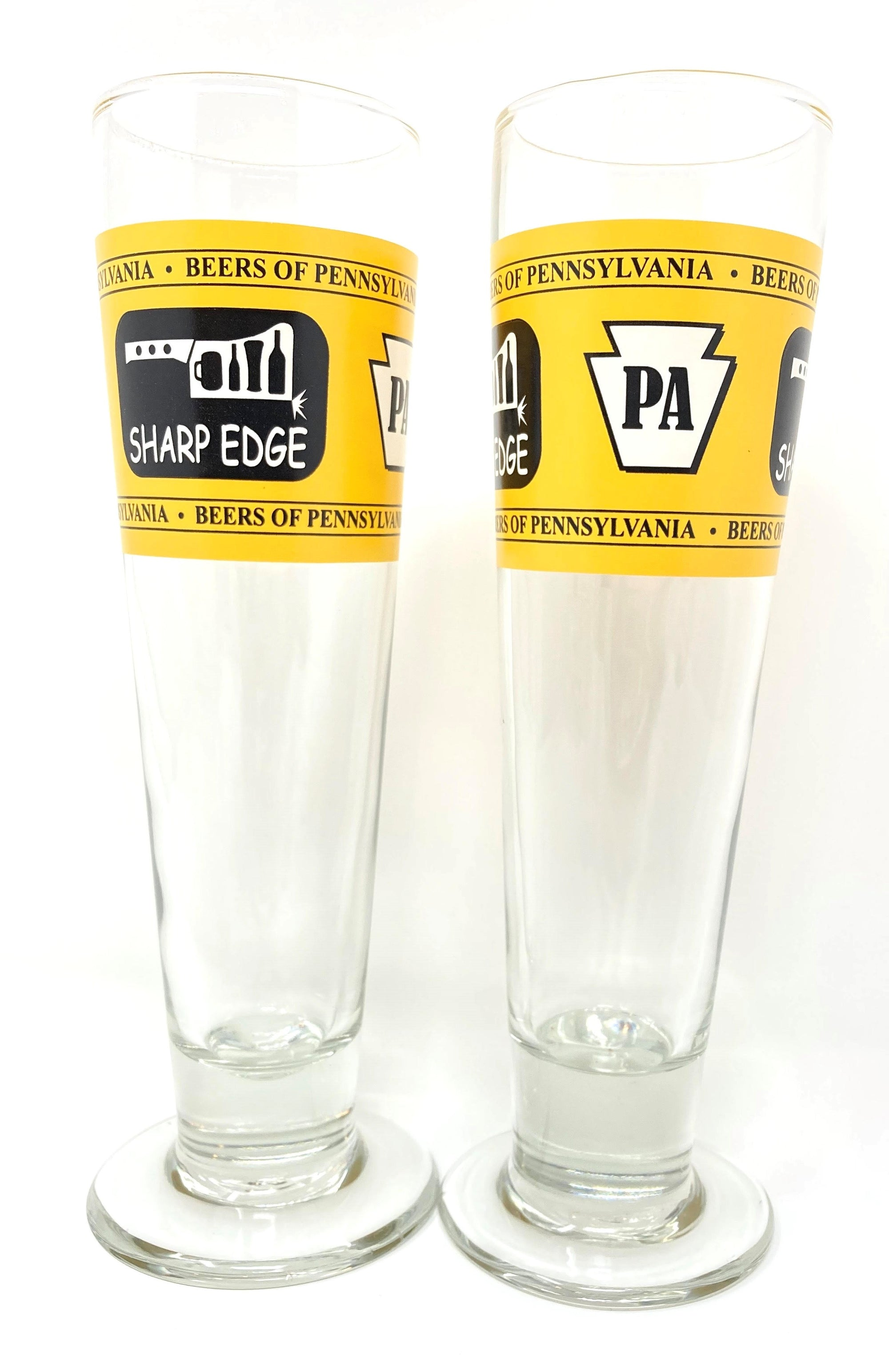 Sharp Edge Creek House Black and Gold Pittsburgh 14.5 oz Tall Beer Glass Set of 2