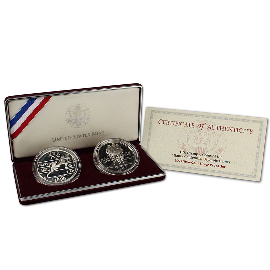 1995-P Olympic Track and Field and Cycling Commemorative Silver Dollar 2 Coin Set Proof