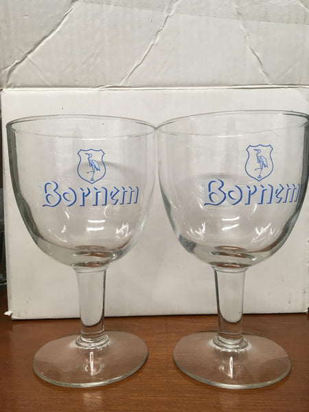 Bornem Beer Glass White Label Set of 2