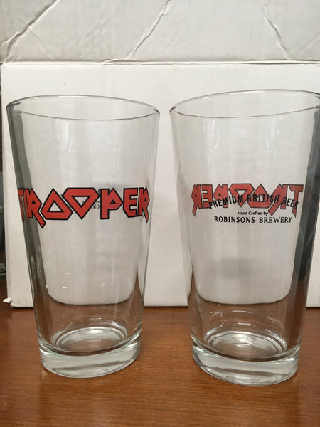 Trooper Iron Maiden Themed Robinsons Brewery British Beer Glass Set of 2