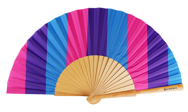 Pride Fans brand large bamboo fabric folding hand fan. Bisexual Pride Fan. Drag Queen Fans. Clack Festival Fans. Daddy Fans. Gay Pride Fans. LGBTQ Pride Rainbow Fans.