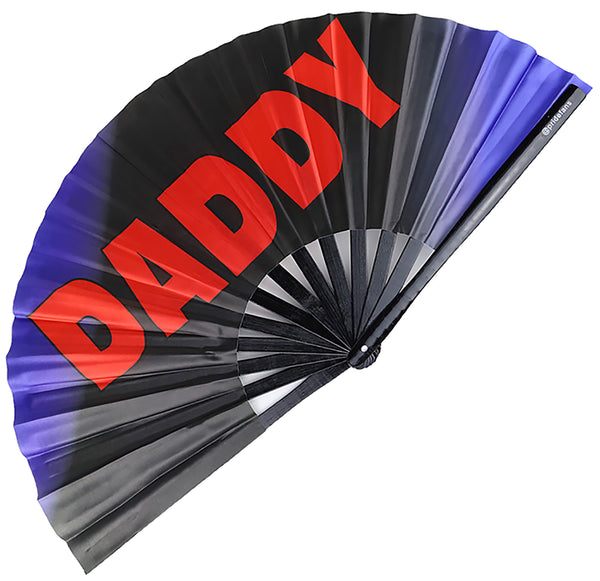Pride Fans brand Clack Daddy Gay Pride Fan. Red, blac, blue colors.