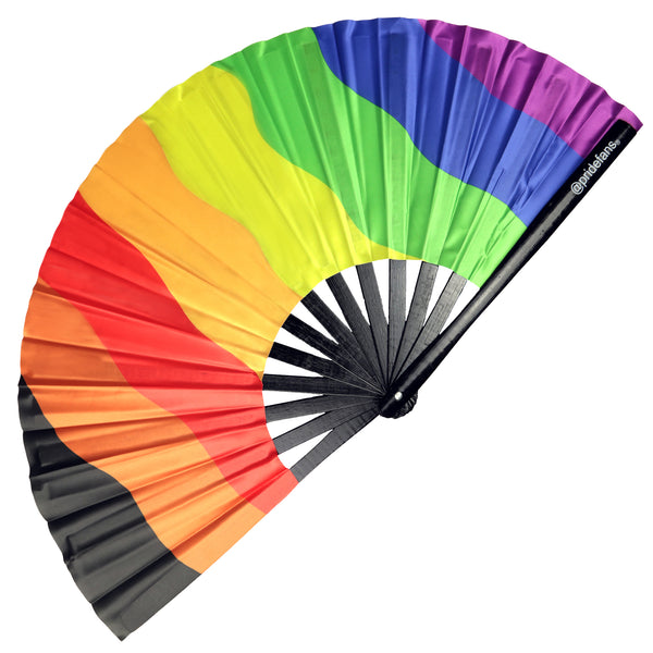 Pride Fans brand large bamboo fabric folding hand fan. Drag Queen Fans. Clack Festival Fans. Daddy Fans. Gay Fans. LGBTQ Rainbow Fans.