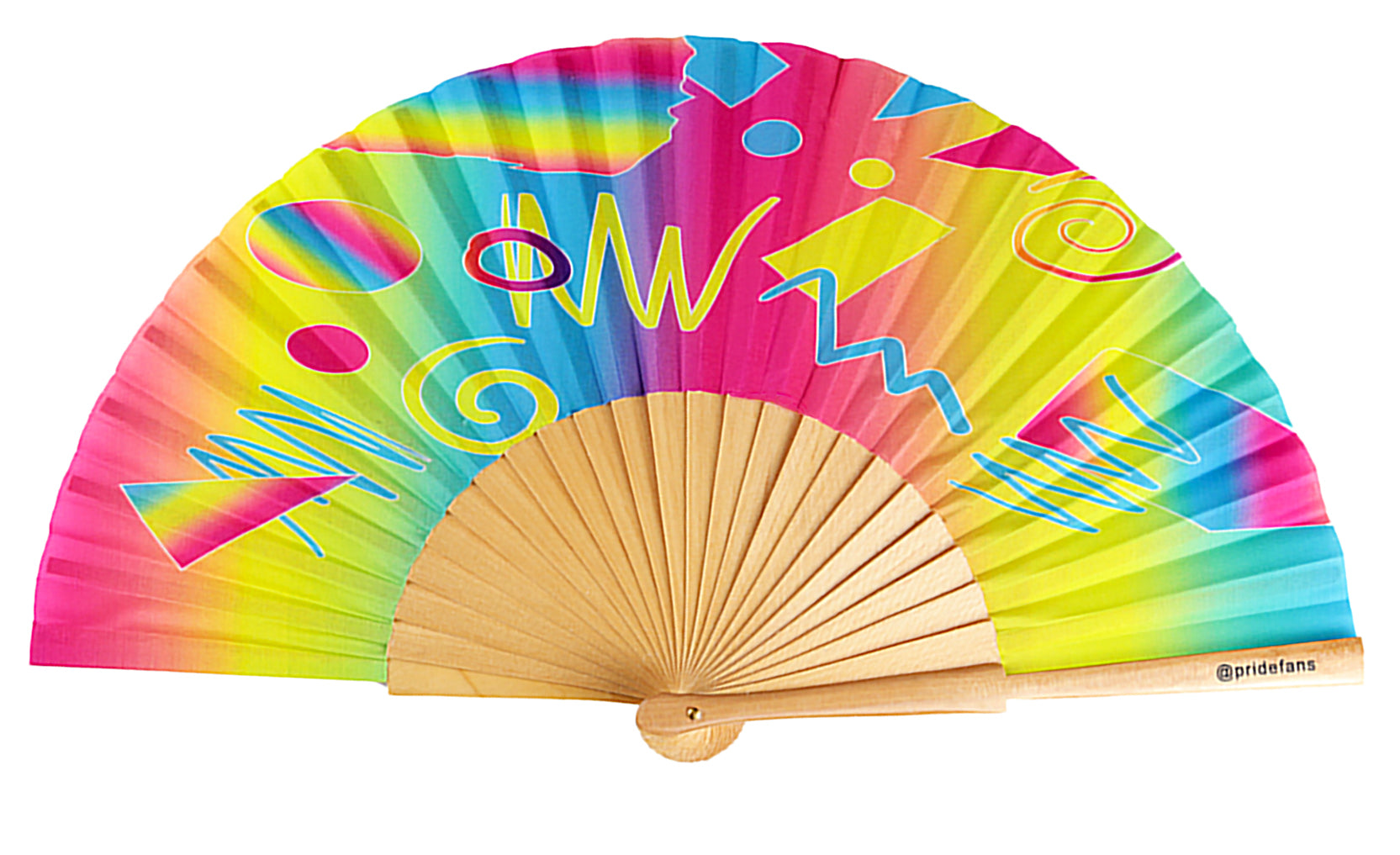 Pride Fan pansexual pride wood rainbow hand fan