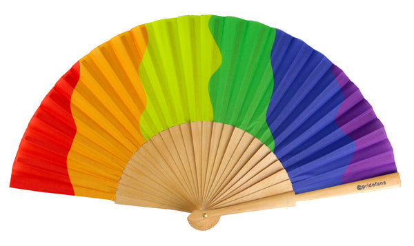 Pride Fans brand LGBTQ Pride Rainbow Hand Fan. Durable wood and fabric folding fan.